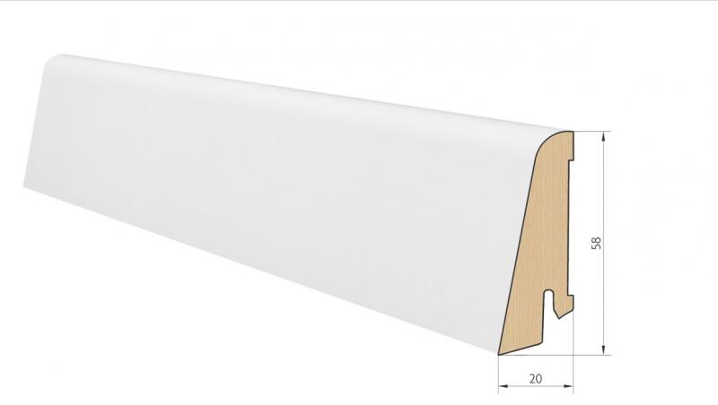 Medinė faneruota grindjuostė Pedross Balta dažyta 20*58 MM