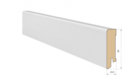 Medinė faneruota grindjuostė Pedross Balta dažyta 15*95 MM