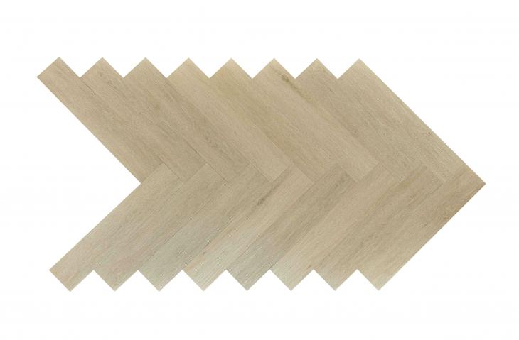 Akustinė SPC vinilinė grindų danga Nomad Flo Heringbone Zafra